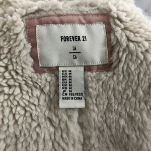 Forever 21 Jackets & Coats - Forever 21 Hooded Pink Faux-Sherpa Lined Coat Sz M